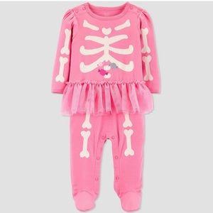 Infant girl Halloween Pink Skeleton footsie